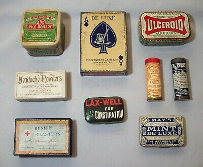 Lot of Nine Early Advertising Tins, Quack Medicine, Playing Cards, Liver Tablets