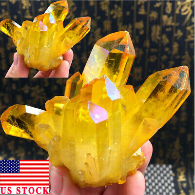USA Rare Natural Yellow Crystal Quartz Citrine Cluster Mineral Specimen Healing