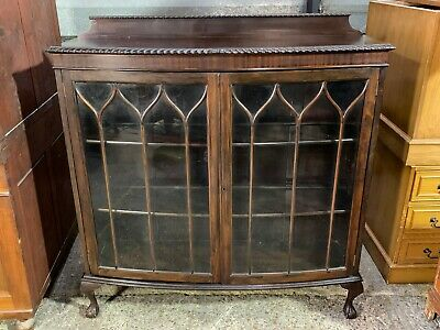 Antique Victorian queen anne glazed oak bookcase with bow front and beaded glass