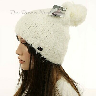 CUDDL DUDS Women's IVORY Winter BEANIE HAT with POM Cold Weather SOFT KNIT CAP