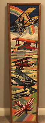 Vintage Mid Century Crewel Embroidery Panel  WWII Planes Hand made