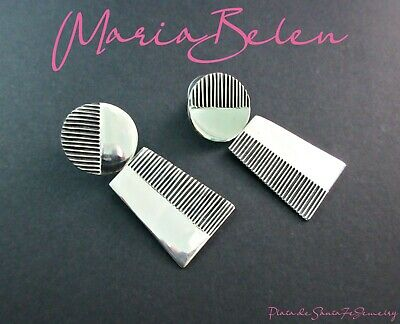 MARIA BELEN-Contemporary Dual Shape/Texture/Finish - 925 Taxco Earrings-2""
