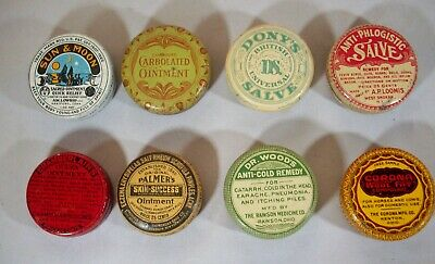 Lot of Eight (8) Round Quack Medicine Tins, Salves & Ointments