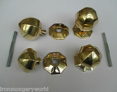 Solid Brass Georgian Period Medieval/Gothic Style Rim Mortise Door Knobs Handles