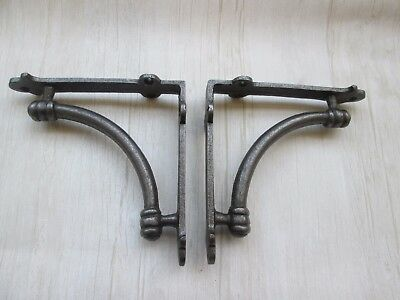 "PAIR OF 5"" INDUSTRIAL cast iron rustic vintage old shelf support brackets"