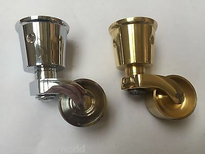 30mm SOLID BRASS VINTAGE OLD TRADITIONAL CUP FIT SWIVEL CASTOR WHEEL CASTER