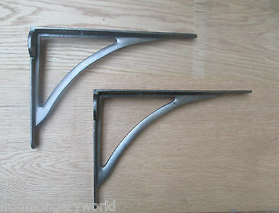 """8""""PAIR of cast iron vintage Arched victorian wall mounted shelf support brackets"""