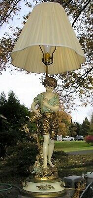 Antique French BRONZE SPELTER LAMP Signed L & F Moreau