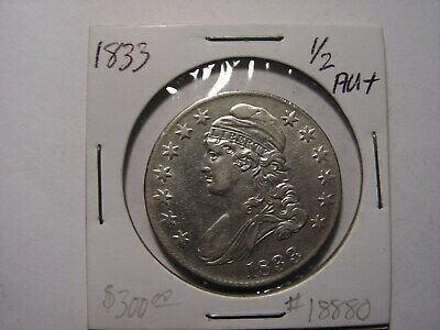1833 Capped Bust Half Dollar, Looks To Be In AU+ Condition.