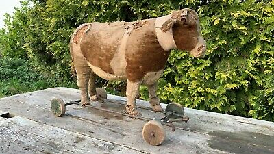 Antique Vintage 19th Century Steiff? Straw Pull Along Cow On Wheels *