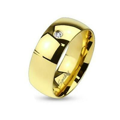 Coolbodyart Af Stainless Unisex Ring Gold 0 1/4in Wide Classic Line Single Cz