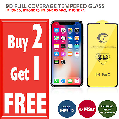 Full Coverage 9D Tempered Glass Screen Protector For Apple iPhone XS XS Max XR X