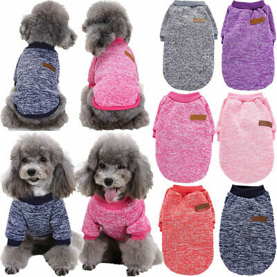 US Pet Cat Dog Knitted Jumper Winter Sweater Warm Coat Jacket Puppy Vest Clothes