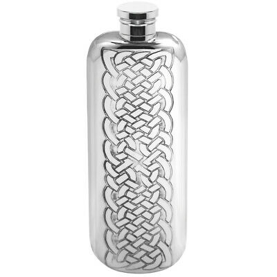 Stylish4oz Square Pewter Handcast Pocket Hip Flask Featuring Stamped Piper