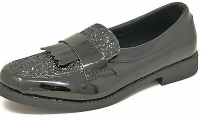Children Kids Teens Girls Black Glitter Loafer Slip-on School Shoes Size 2-5