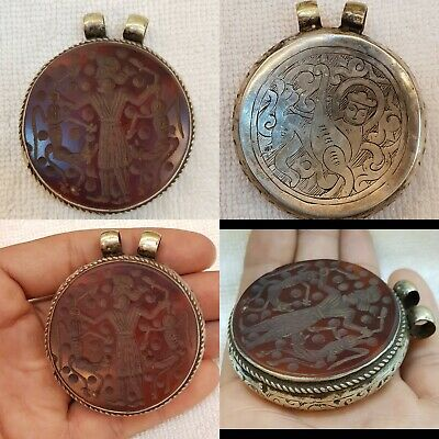 Antique Silver Old Pendant With Yeman Old Agate Stone King Hunting Deer Intaglio