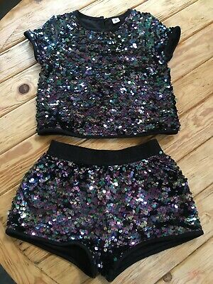 Tu Girl's Black Sequinned Party Top And Shorts - Age 7