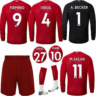19-2020 Football Kids Long Sleeve Kits Soccer Suit Training Jersey Outfits+Socks