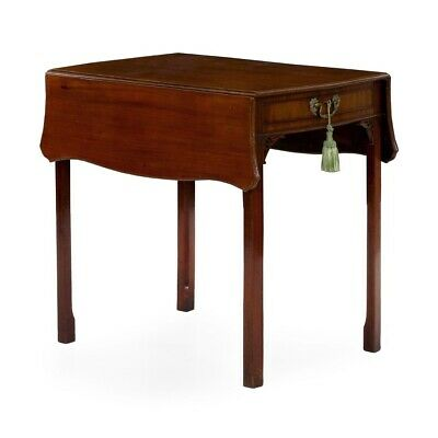 MAHOGANY ACCENT TABLE | English Chippendale Antique Side Pembroke Table, c.1780