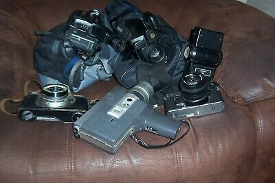 job lot old cameras and camcorders  iincludes fujica ax 1with 55mmlens canon c