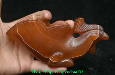 """6"""" Old Chinese Natural Red Agate Hand-Carved Animal Chicken Drink Wine Cups"""