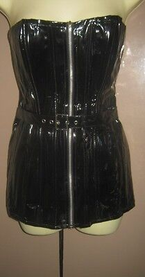 Black Pvc Xl Corset, Bustier, Zip Front Lace Up Back, Longer Length, As New