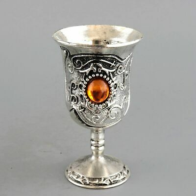 Collectable Handwork Old Miao Silver Inlay Amber Carve Delicate Noble Wine Cup