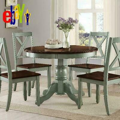 Cambridge Farm House Dining Table Rustic Antique Blue Round Table Mocha Top