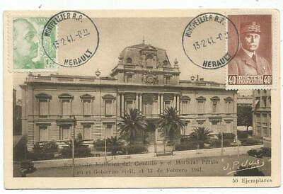 France Petain Mixte Espana Franco Carte Speciale Montpellier 13.2.1941 Superbe