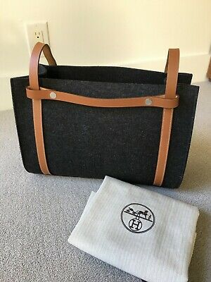 Hermes Cabalicol charcoal Gray Felt Wool and Natural Vache Leather Tote EUC AUTH