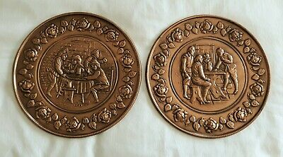 Vintage Pair ELPEC England COPPER Colored Embossed BRASS Wall Hanging PLATES