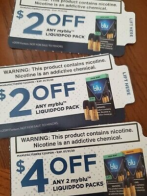 My Blu Coupons $8 Value 3 Manufacturer Coupons Expire 1/31/20 Liquid Pod Packs
