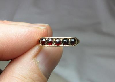 Bohemian Garnet 10K Gold Ring Antique Art Deco Belle Epoque Superb