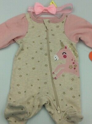"""Adorable Baby Doll Outfit For Reborn Infant Newborn Unicorn Bow 15-17"""""""