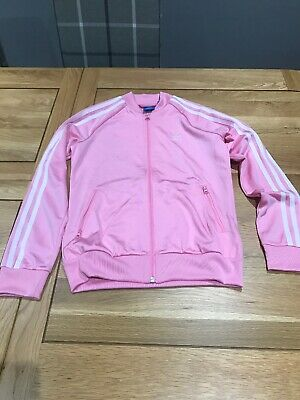 Adidas Girls Pale Pink Tracksuit Top.  Age 12-13