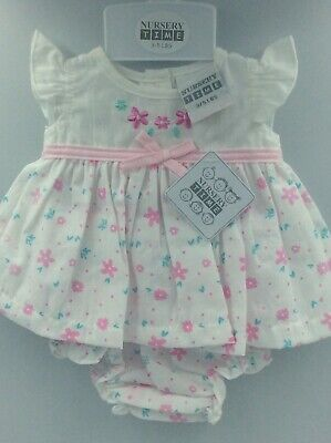 """Adorable Baby Doll Outfit For Reborn Infant Newborn Pink Flowers & Bow 15-17"""""""