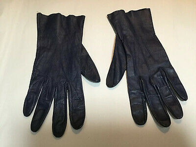 Ladies Navy Soft Leather Gloves Size 7