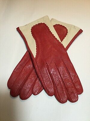 Ladies paikang Red And Cream Soft Leather Gloves Size 8