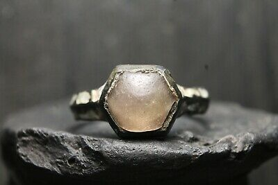 Rare Ancient Viking Bronze Stone Ring , Antique Enamels, 6th-11th Century AD.