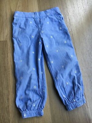 Mothercare Girls Light Blue Cotton White Floral Embroidered Trousers 18-24 Month