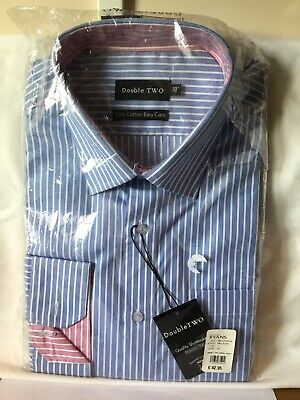 "Double TWO Mans Long Sleeve Striped Cotton Shirt 18"" Collar BNIP Blue."