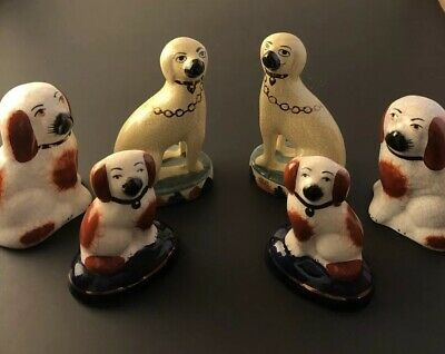 Lot Of 19th Century Englsh Dogs Staffordshire English  Dog Antique Dogs Very Old