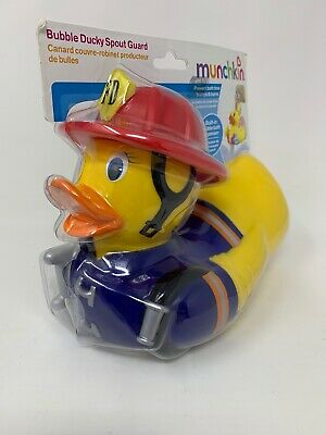 New Munchkin Bubble Ducky Spout Guard Bubble Bath Dispenser Firefighter Duck