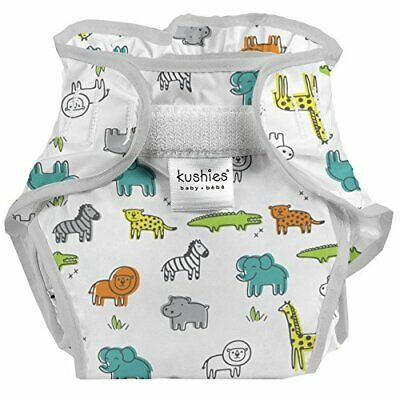 Kushies Baby Infant Waterproof Diaper Wrap, White Safari (White Safari)