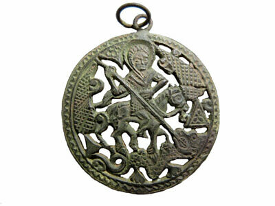 AMAZING ANTIQUE 1800s. BRONZE RELIGIOUS MEDALLION, ST. GEORGE Killing The DRAGON