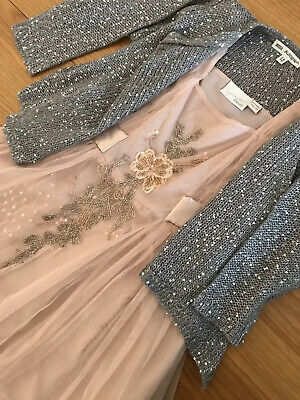Next girls 9 years Christmas/Party Dress -M&S Autograph 7-8 Silver Cardigan Inc