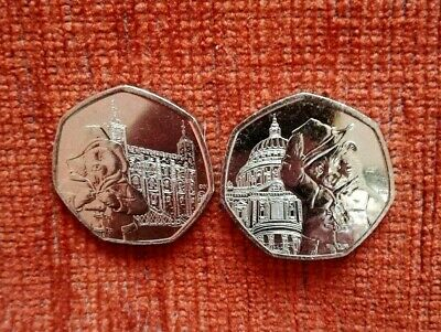 2019 Set of 2 Paddington  50p's: St. Paul's Cathedral & Tower of London