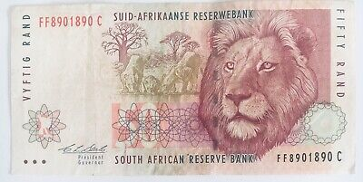 Old South Africa (Suid/Zuid Afrika) 50 Rand Banknote Afrikaans Lion Big 5 Series