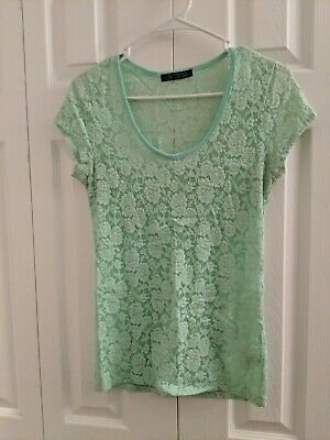 Love Culture Juniors Girls Lace top short sleeve size large