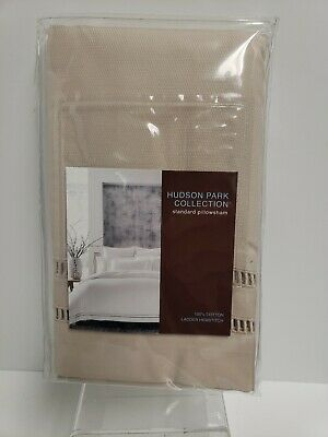 Hudson Park Collection 2 Standard Pillow Shams Ladder Hemstitch OAT New
